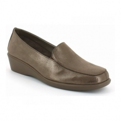FOUR WILLIAM Ladies Leather Slip On Loafers Bronze Shimmer