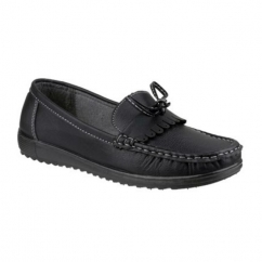 ELBA Ladies Slip On Fringe Casual Loafers Black