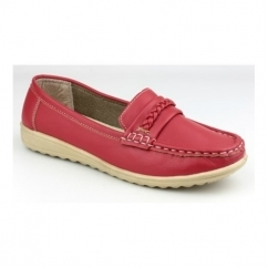 THAMES Ladies Slip On Classic Casual Loafers Red
