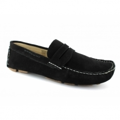3635 Mens Suede Driving Loafers Black
