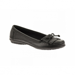 CEIL MOCC Ladies Leather Wide Loafer Shoes Black