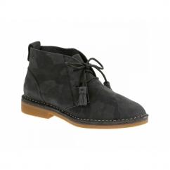 CYRA CATELYN Ladies Suede Desert Boots Black Camo