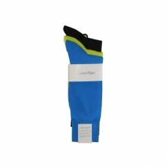 HARPER Mens Cotton Socks 3 Pack Blue/Lime Green/Black
