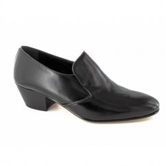 NASSER II Mens Soft Leather Plain Cuban Heel Shoes Black