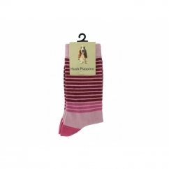 STRIPES Ladies Cotton Socks Fuchsia