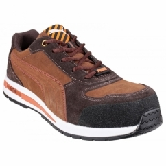 BARANI LOW 643010 Mens Suede Leather Safety Trainers Brown