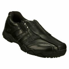 DIAMETER COLE Boys Slip-On Leather Loafers Black
