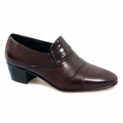 EDUARDO Mens Leather Cuban Heel Slip-On Shoes Brown