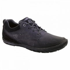 ABILENE Mens Oily Leather Suede Lace-Up Shoes Black