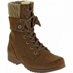 ALEXI Ladies Suede Warm Lined Lace-Up Boots Dark Snuff