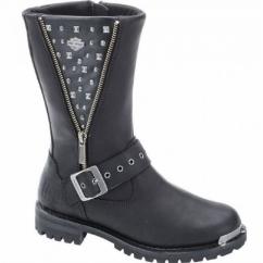 TANYA Ladies Leather Studded Biker Boots Black