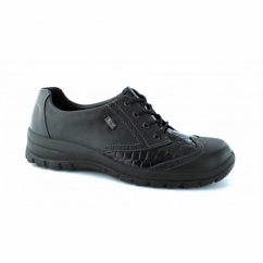 L7124 Ladies Leather Lace-Up All-Weather Shoes Black