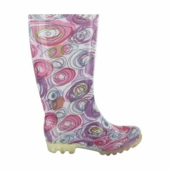 PVC LONG WELLY Ladies Patterned Wellington Boots Swirls