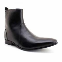 LAPEL Mens Leather Zipper Chisel Toe Boot Waxy Black
