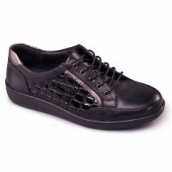 ATOM Ladies Patent Leather Lace Up Wide Fit Shoes Black
