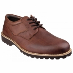 TUFFLEY Mens Leather Lace Up Shoes Brown