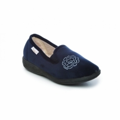 GLADYS Ladies Textile Memory Foam Slippers Navy