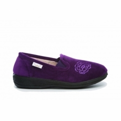 GLADYS Ladies Textile Memory Foam Slippers Purple
