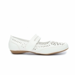 PAULINE Ladies Faux Leather Mary Jane Shoes White