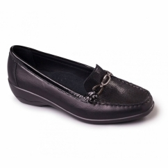 ELLEN Ladies Leather Extra Wide Moccasin Loafers Black/Combi