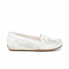 STEFANIE Ladies Faux Leather Slip-On Shoes White