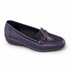 ELLEN Ladies Leather Extra Wide Moccasin Loafers Navy/Combi