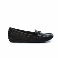 STEFANIE Ladies Faux Leather Slip-On Shoes Black