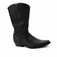 TEXAS HI Ladies Calf Length Leather Cowboy Boots Black