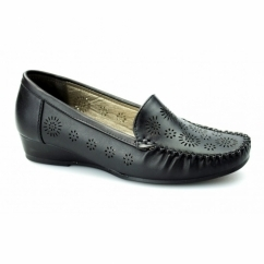 AVELINE Ladies Faux Leather Wide Fit Wedge Loafers Black