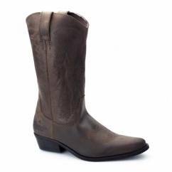 TEXAS HI Ladies Calf Length Leather Cowboy Boots Dark Brown