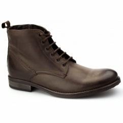 STILLER Mens Leather Derby Boots Brown