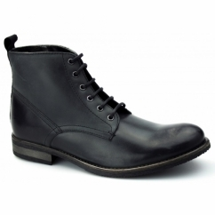 STILLER Mens Leather Derby Boots Black