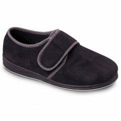HARRY Mens Microsuede Velcro Wide Fit Full Slippers Black