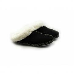 JUDY Ladies Soft Faux Fur Mule Slippers Black