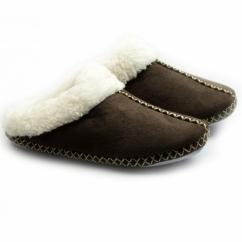 JUDY Ladies Soft Faux Fur Mule Slippers Dark Brown