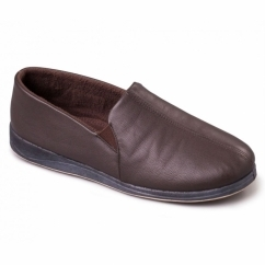 BEN Mens Leather Wide Fit Full Slippers Brown