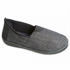 BLAKE Mens Canvas/Microsuede Wide Fitting Full Slippers Black