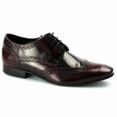 RITCHIE Mens Leather Lace Up Brogue Shoes Bordo
