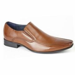 BRETT Mens Leather Lined Tramline Chisel Toe Shoes Tan