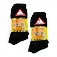 HEAVY DUTY Mens Safety Work Socks Black x6 Pairs