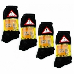 HEAVY DUTY Mens Safety Work Socks Black x12 Pairs