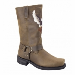 DARREN Mens Leather Pull On Eagle Boots Brown
