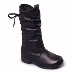 PIPER Ladies Leather Extra Wide Plus Zip Calf Boots Black