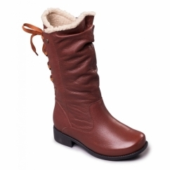 PIPER Ladies Leather Extra Wide Plus Zip Calf Boots Tan