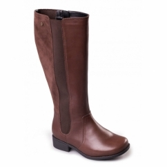MYRA Ladies Leather Zip Extra Wide Plus Tall Boots Brown