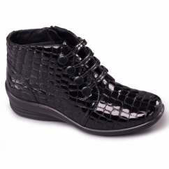 TANYA Ladies Leather E/EE Wide Fit Ankle Boots Patent Black Croc