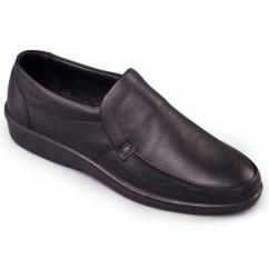 DIGGER Mens Leather Slip-On Loafers Black