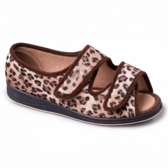 LYDIA Ladies Microsuede Velcro Extra Wide Slippers Brown/Leopard