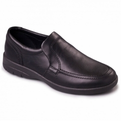 LEO Mens Leather Slip-On Extra Wide G/H Loafers Black
