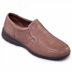 LEO Mens Leather Slip-On Extra Wide G/H Loafers Taupe
